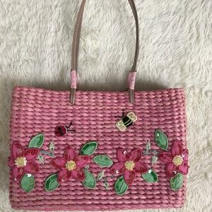 Vintage Pink Cornhusk Handbag